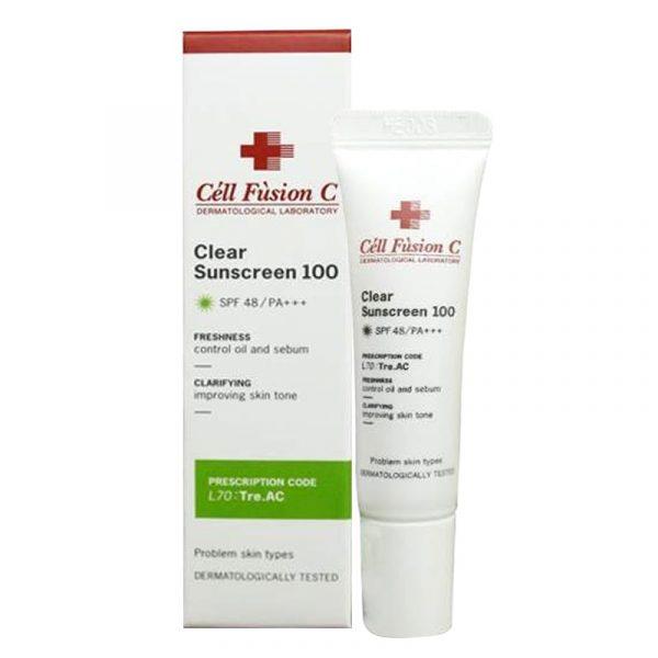 Kem chống nắng cho da dầu mụn Cell Fusion C Clear Sunscreen 100 SPF 48+